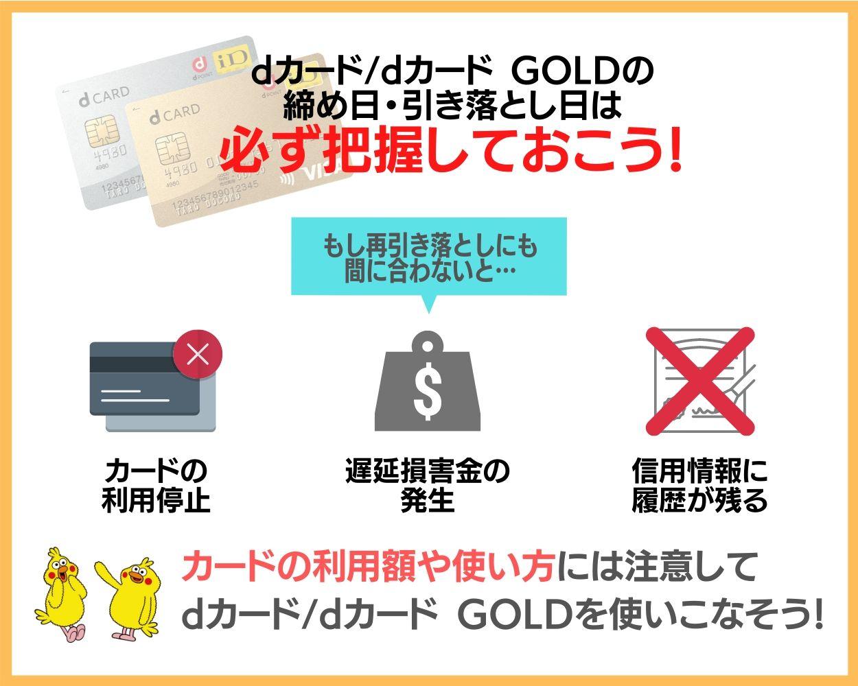dカード・dカード GOLDの締め日・引き落とし日まとめ