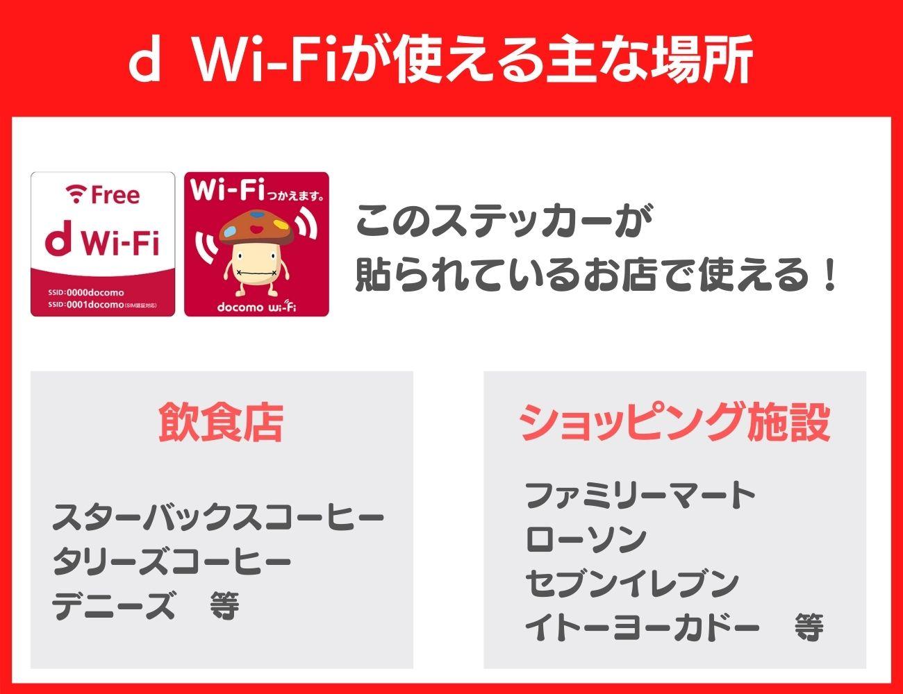 d Wi-Fiが使える主な場所