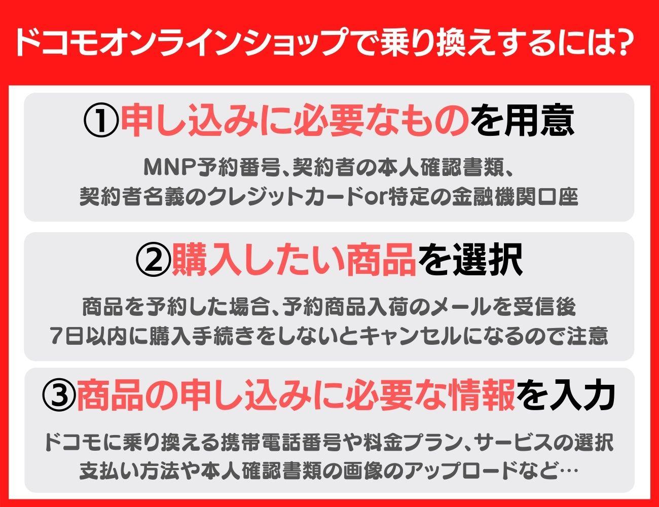 他社からドコモオンラインショップでドコモへ乗り換え(MNP)の手続きをする方法