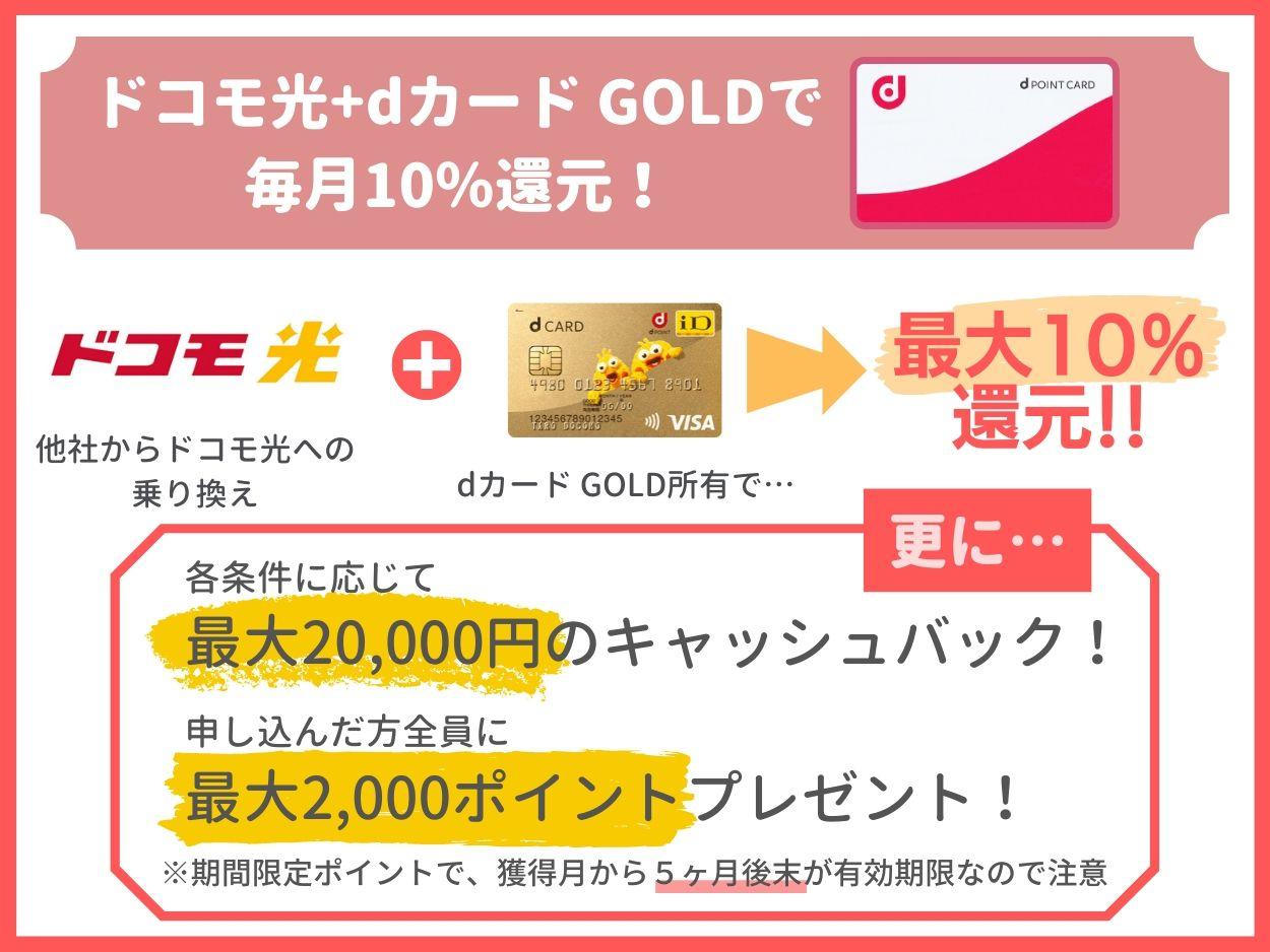 自宅のネット回線をドコモ光にすればdカード GOLDで10%還元!