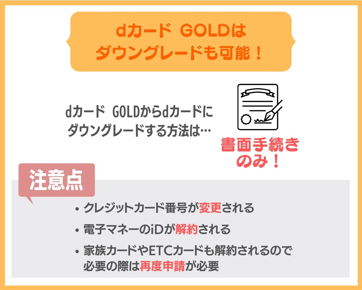 dカード GOLDからdカードへのダウングレード方法