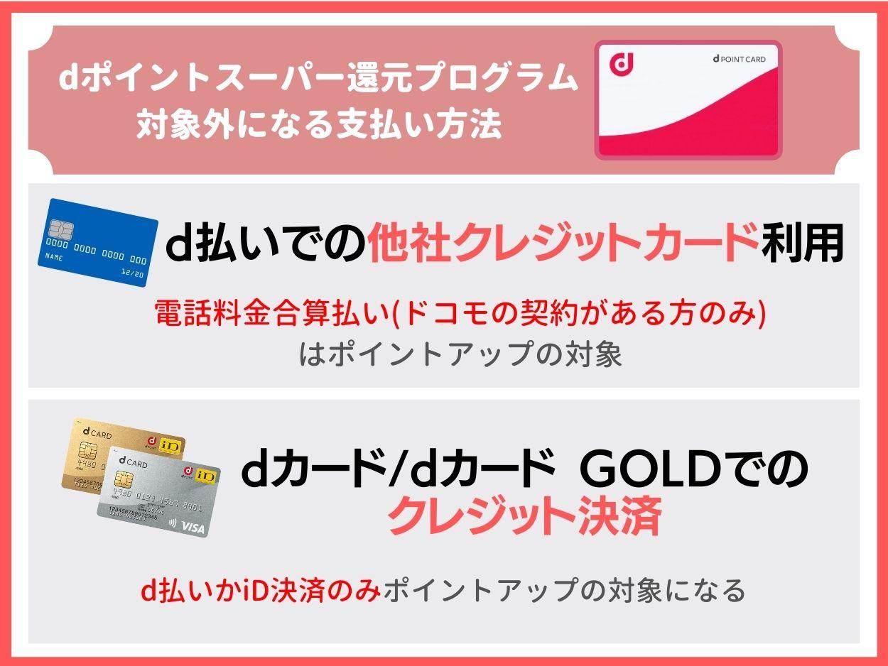 dポイントスーパー還元プログラムはクレジットカード払いの対象外に注意!