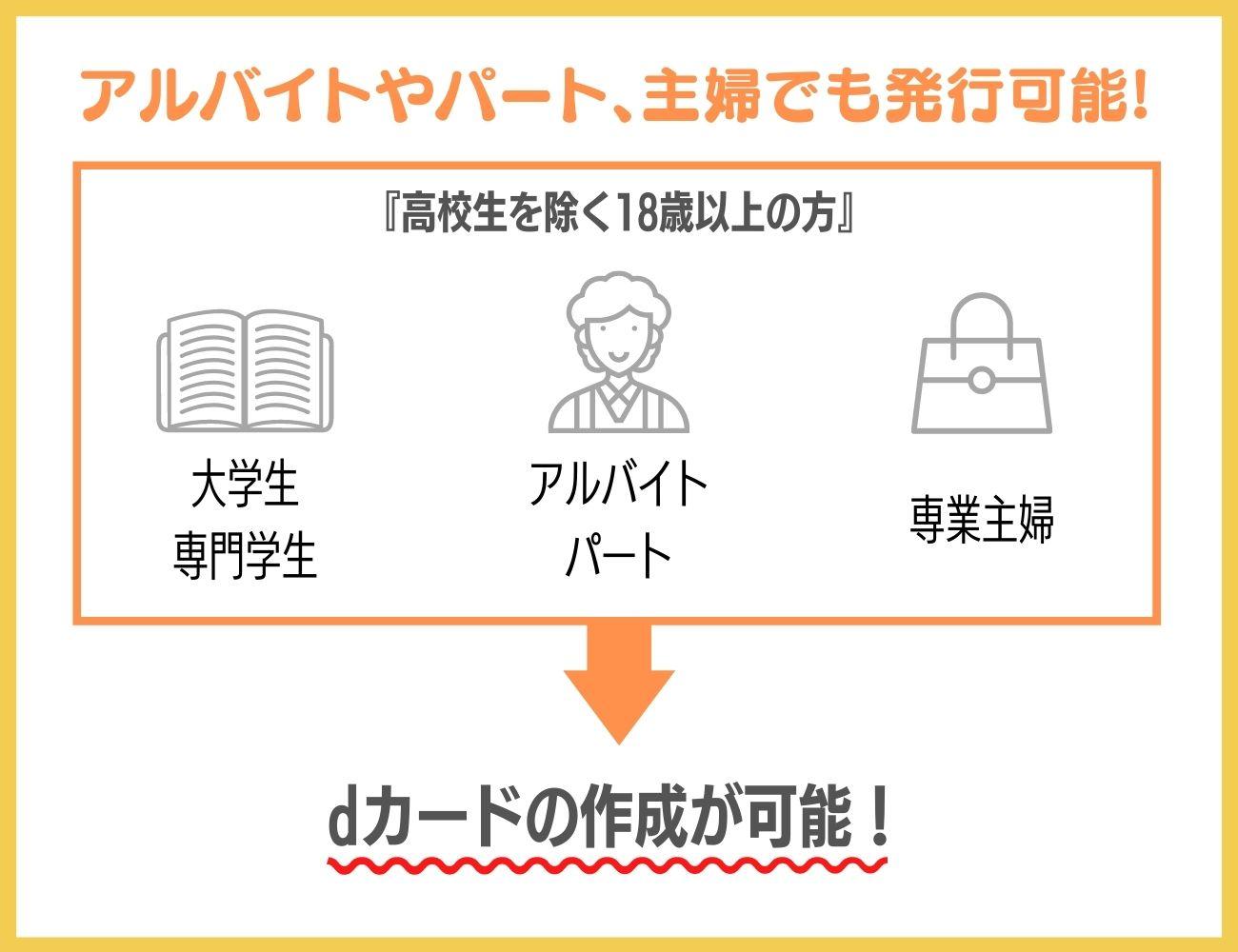 dカードはアルバイトやパート、主婦の方でも発行できる