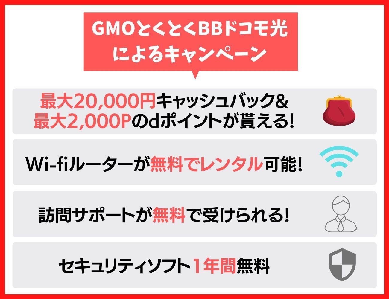一番お得なGMOとくとくBBドコモ光によるキャンペーン・キャッシュバック