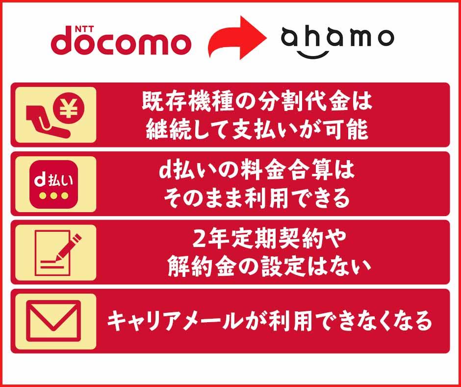 ドコモからahamoに移行・乗り換えする際に注意しておきたい点