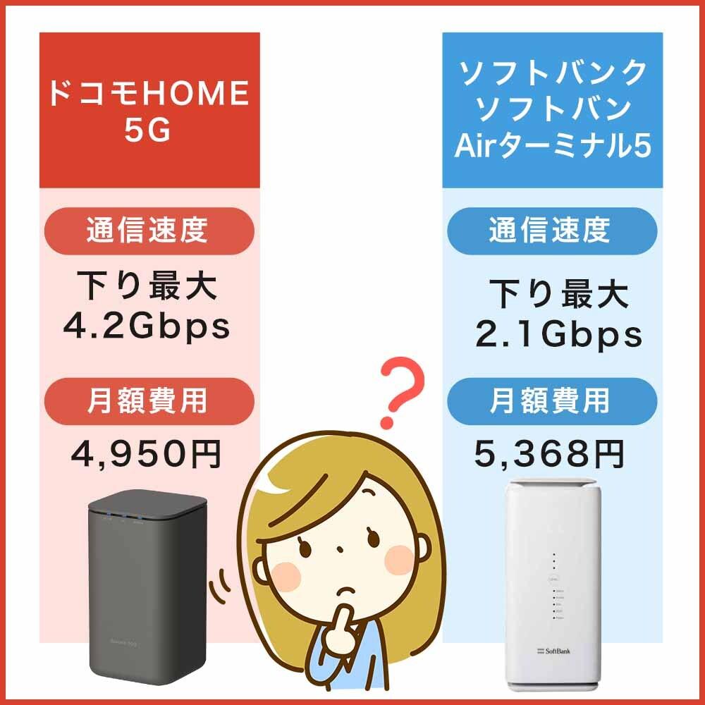ソフトバンク Airターミナル5とドコモHOME 5Gの比較